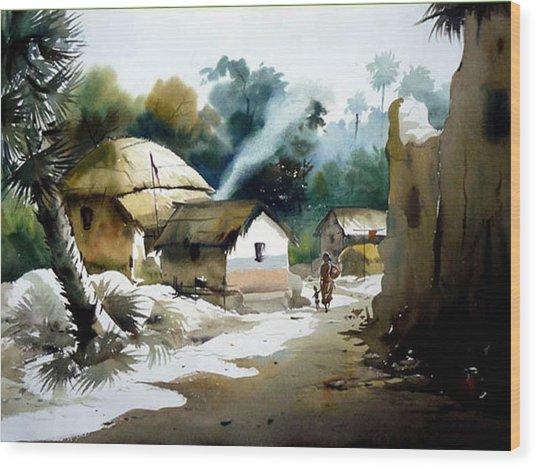 Bengal Village At Noontime Wood Print