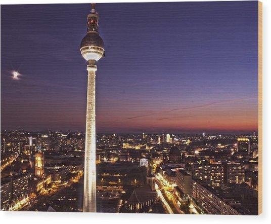 Berlin Tv Tower Wood Print by Bianca Baker