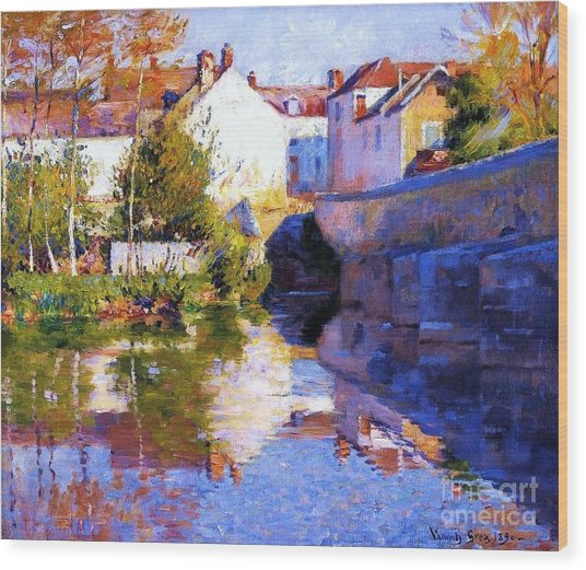 Beside The River - Grez Wood Print by Pg Reproductions