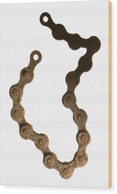 Bicycle Chain Wood Print by Tony Cordoza