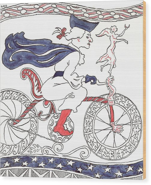 Bicycle Rider In France Wood Print