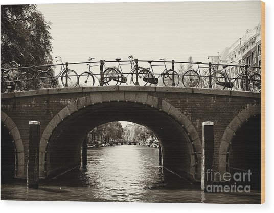 Bicycles Of Amsterdam Wood Print