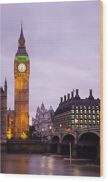 Big Ben In Twilight Wood Print