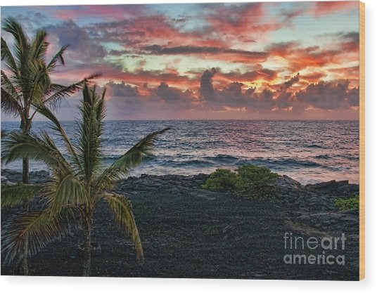 Big Island Sunrise Wood Print