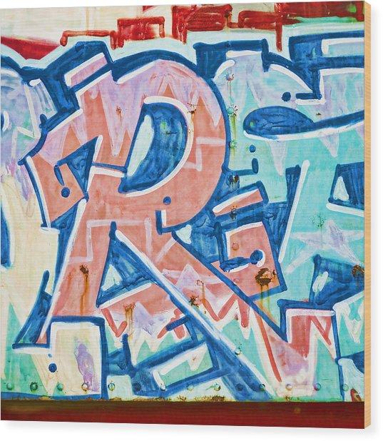 Big Orange R Wood Print by Carol Leigh