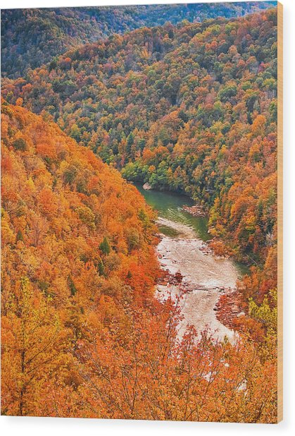 Big South Fork Wood Print by Charles Fletcher