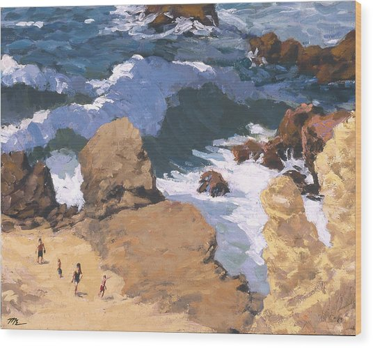 Big Surf At Little Corona Wood Print