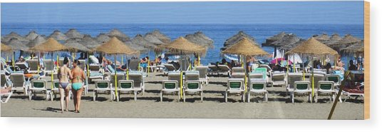 Bikini Girls Beach Umbrellas Costa Del Sol Spain Wood Print