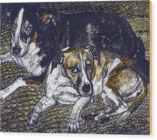 Bill And April Dog Pals Wood Print by Robert Goudreau