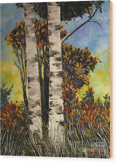 Birches For My Friend Wood Print