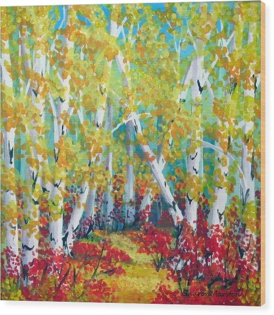 Birches In Autumn Wood Print by Sharon Marcella Marston