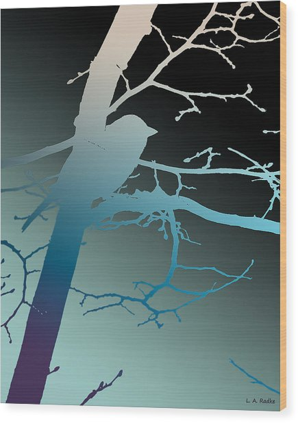 Bird At Twilight Wood Print
