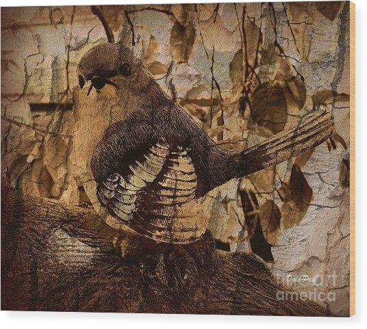 Bird In Brown Wood Print