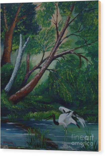 Bird In The Swamp Wood Print