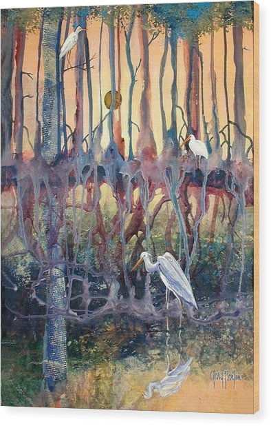 Birds Of The Water Wood Print