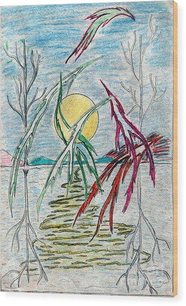 Birds Over Lake Wood Print
