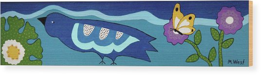 Birdy Eyeing Butterfly Wood Print by Marilyn West