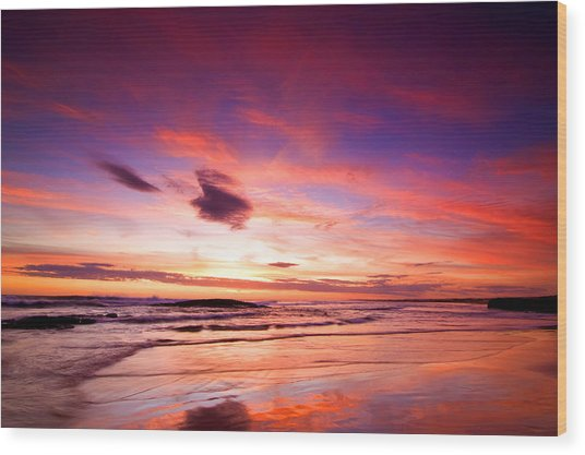 Birubi Point Sunset Wood Print