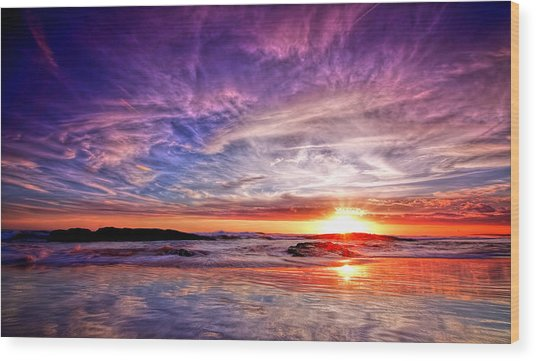 Birubi Point Sunset Redux Wood Print