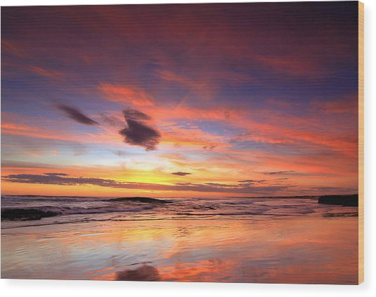 Birubi Sunset Wood Print