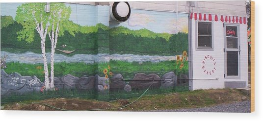 Biscuit's Bakery Mural Wood Print by SHER Millis