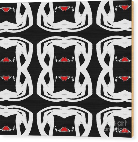 Pattern Black White Red No.92. Wood Print by Drinka Mercep