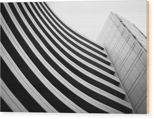 Black And White Building Curve Shape  Wood Print by Kittipan Boonsopit