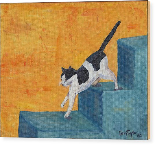 Black And White Cat Descending Blue Stairs Wood Print