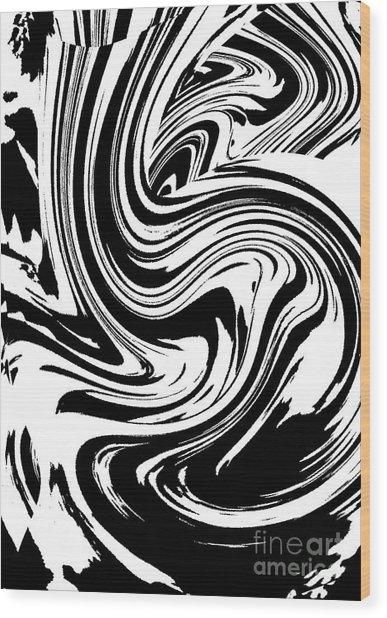 Black White Circles Waves Wortex No.211 Wood Print by Drinka Mercep