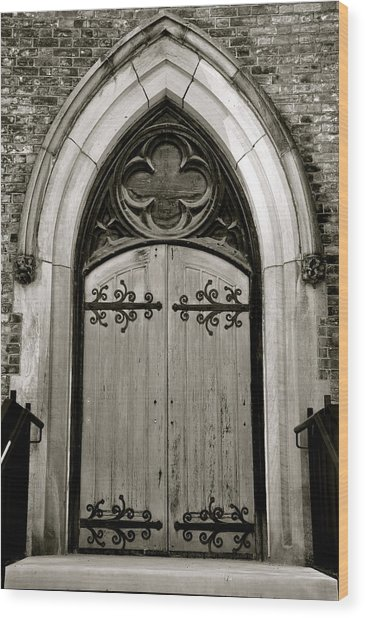 Wood Print featuring the photograph Black And White Doorway by Rosemary Legge