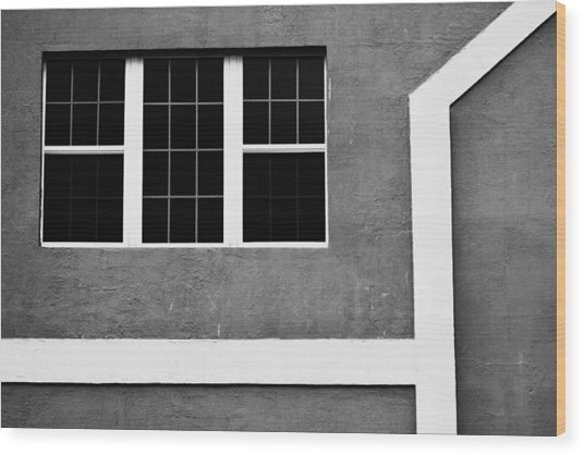 Black And White Side Of Building  Wood Print by Anya Brewley schultheiss