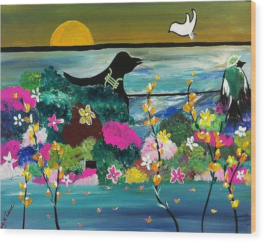 Black Birds Wood Print