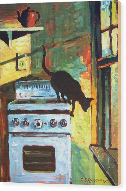 Black Cat In The Kitchen Wood Print by Roelof Rossouw