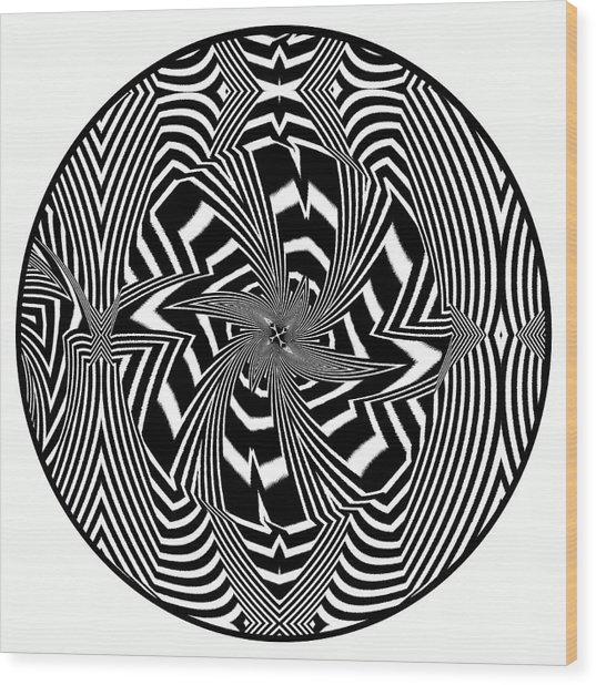 Wood Print featuring the digital art Black Flower by Visual Artist Frank Bonilla