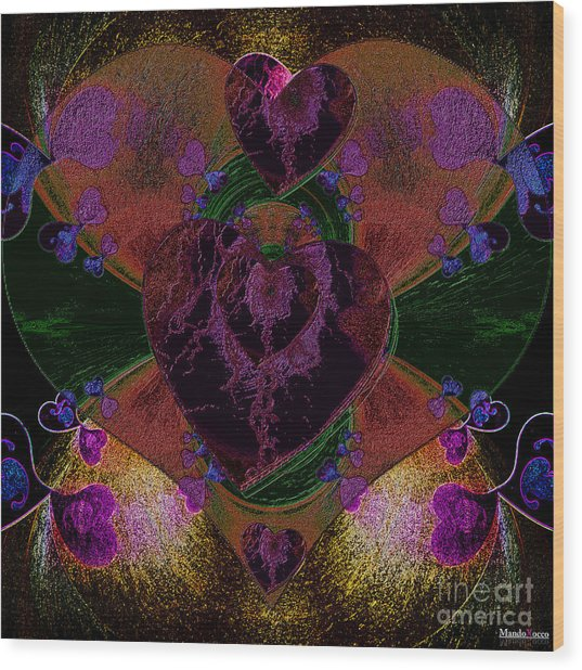 Black Heart Color Wood Print