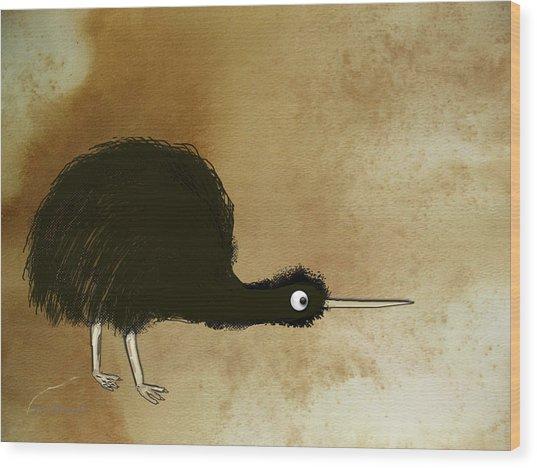 Black Kiwi Wood Print