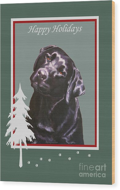 Black Labrador Portrait Christmas Wood Print