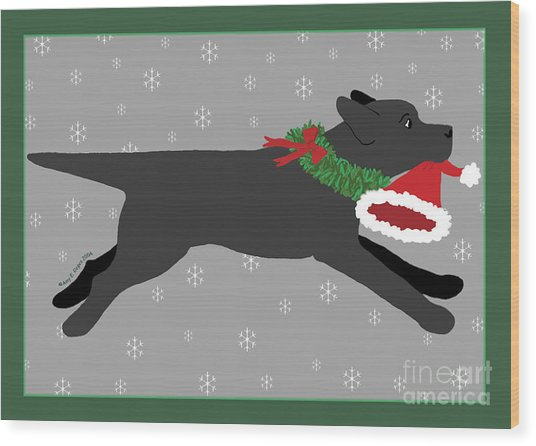 Black Labrador Steals Santa's Hat Wood Print