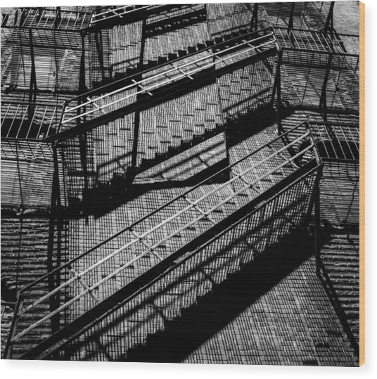 Fire Escape With Shadow Detail Wood Print