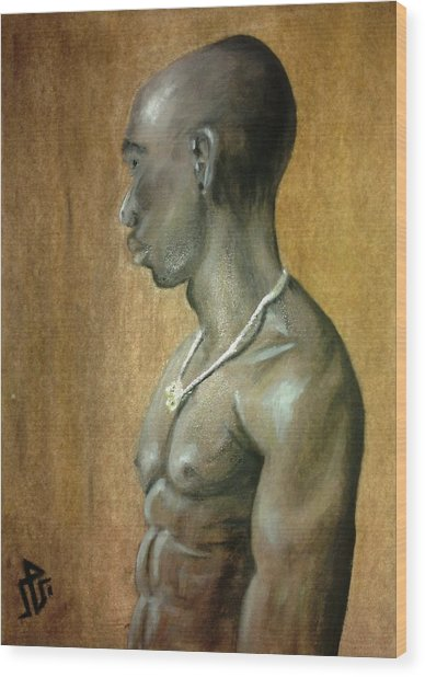 Black Man Wood Print by Baraa Absi