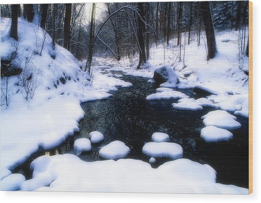 Black River Winter Scenic Wood Print by George Oze