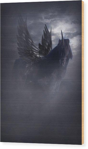 Black Unicorn Pegasus Fantasy Artwork Wood Print