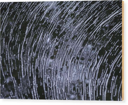 Black Water White Foam Wood Print