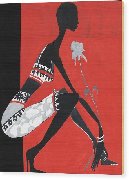 Black Woman Wood Print