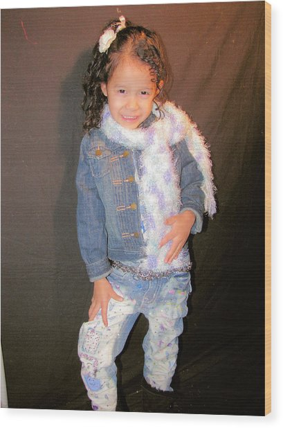 Bleach And Painted Jeans Wood Print by HollyWood Creation By linda zanini
