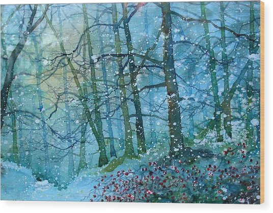 Blizzard In Broxa Forest Wood Print