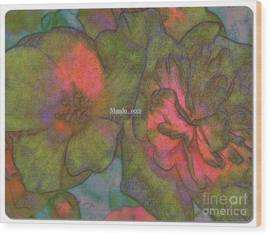 Blooms Line Wood Print