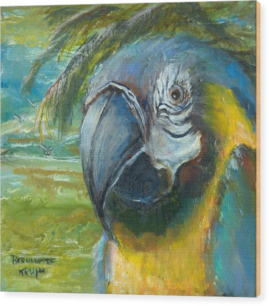 Blue And Gold Macaw By The Sea Wood Print