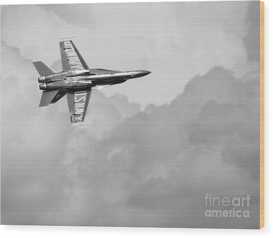 Blue Angels In The Cloud . Black And White Photograph Wood Print by Wingsdomain Art and Photography