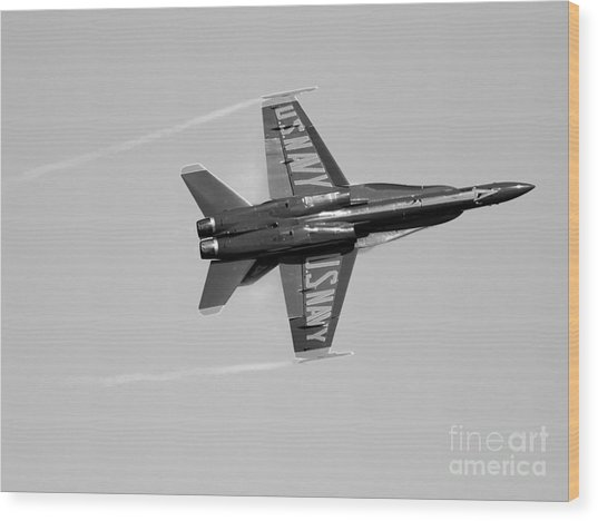 Blue Angels With Wing Vapor . Black And White Photo Wood Print by Wingsdomain Art and Photography